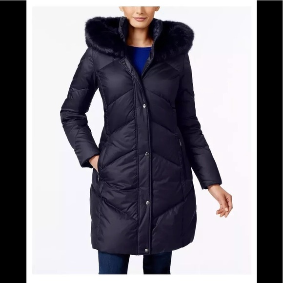 e73bec061f1 Larry Levine faux fur trim quilted down coat blue